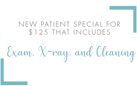 New patient special for $125 that includes Exam, X-ray, and Cleaning.